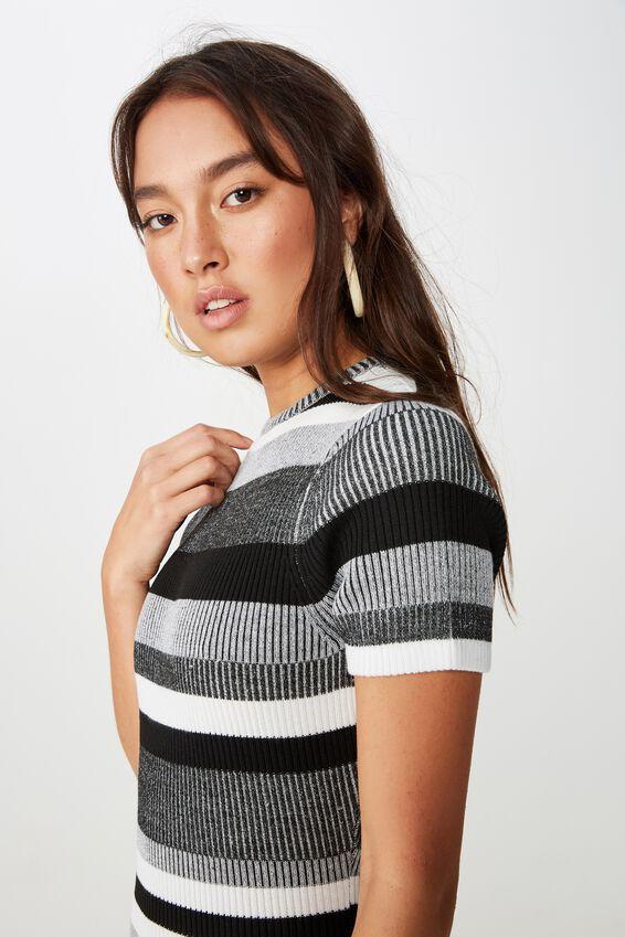 Lottie True Knit Mini Dress, MIA MULTI STRIPE CHARCOAL