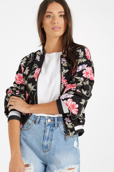 Candice Blouson Sleeve Bomber Jacket, ARMY ROSE BLACK