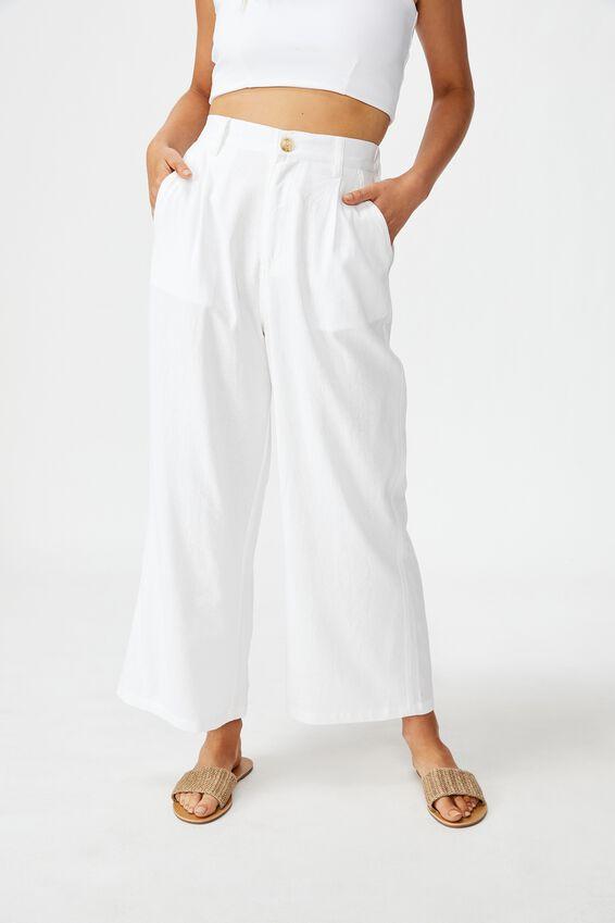 Cindy Wide Leg Pant, WHITE