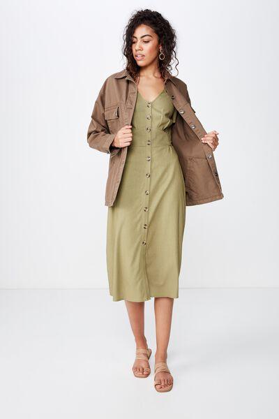 Woven Cherry Button Front S/S Midi Dress, LIGHT OLIVE- L