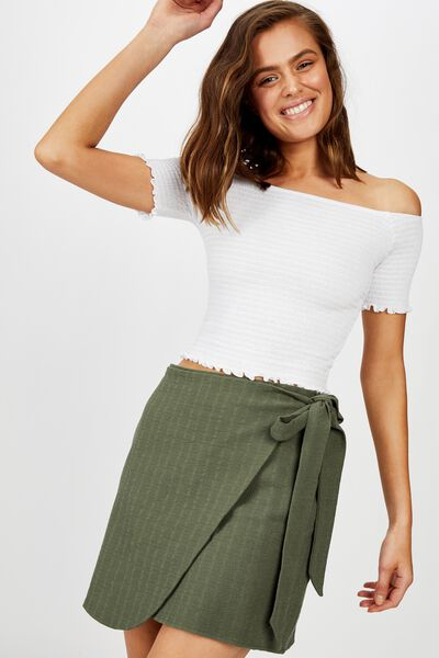 Hailey Wrap Mini Skirt, THYME