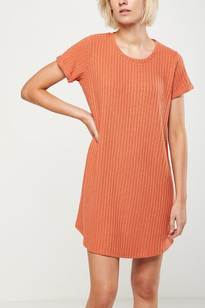 Tina Tshirt Dress 2, BURNT SIENNA TWIST