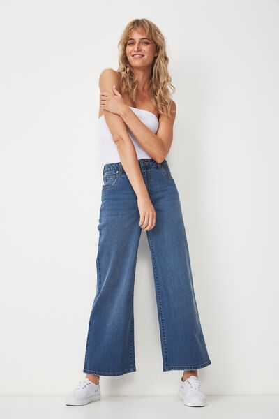 High Wide Stretch Jean, WORN MID BLUE