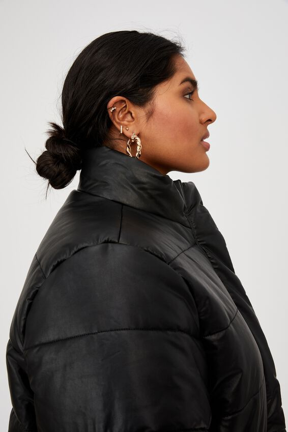 Curve Vegan Leather Puffer Jacket, BLACK