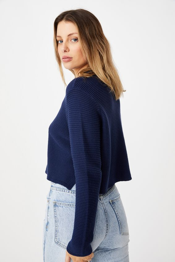 Cotton Cropped Pullover, NAVY