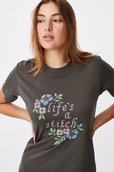Classic Slogan T Shirt, LIFE S A STITCH/SLATE GREY
