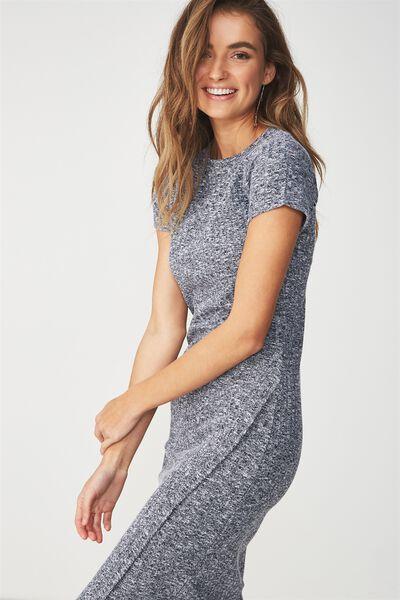 Anthea Short Sleeve Midi Dress, SPACE NAVY/WHITE RIB TWIST