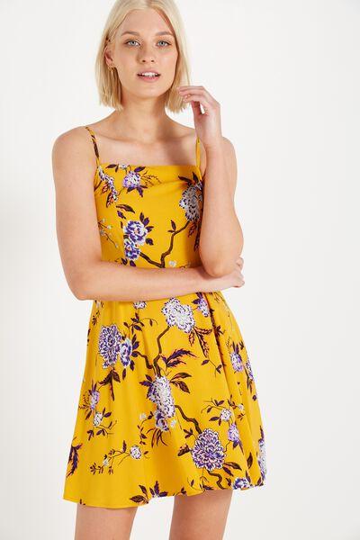 Woven Krissy Dress, STRAIGHT NECK THAI GARDEN GOLDEN YELLOW