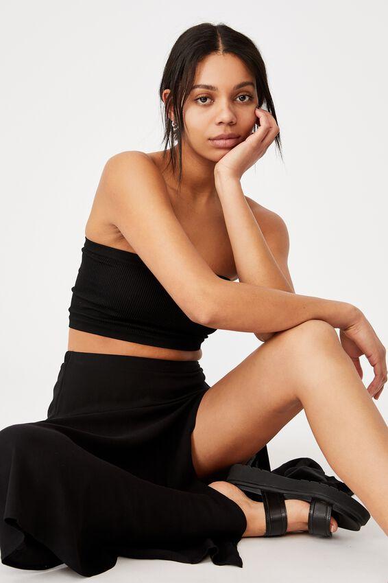 Alana Split Maxi Skirt, BLACK