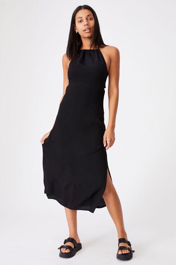 Woven Harper Tie Back Halter Midi Dress, BLACK
