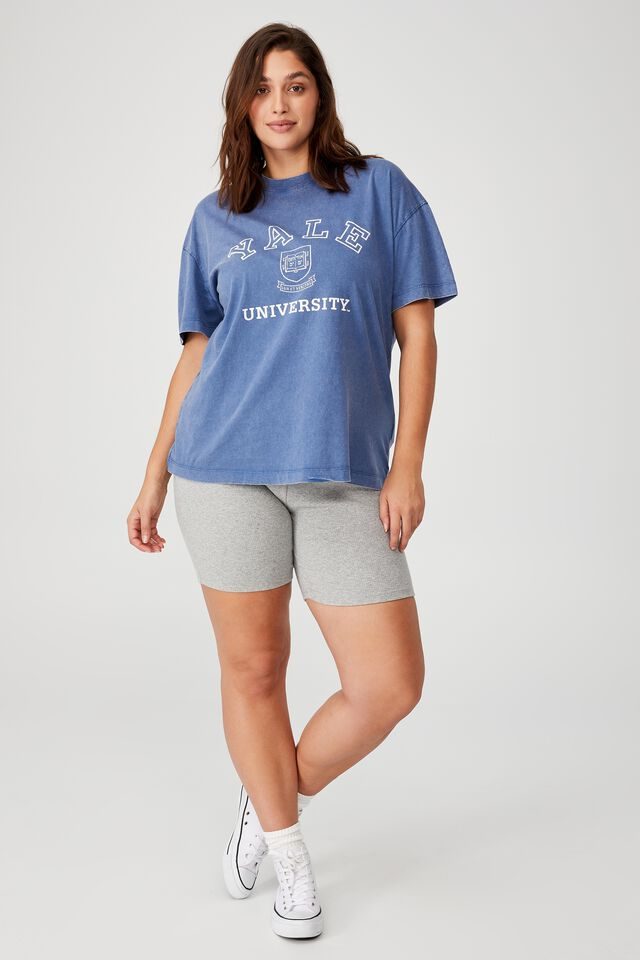 Curve Oversized License Graphic Tee, LCN YALE CREST LOGO/COLONY BLUE