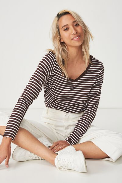 Karly Long Sleeve Top, BEAU STRIPE COFFEE BEAN/WHITE