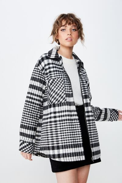 Os Check Shacket, BLACK/WHITE HOUNDSTOOTH