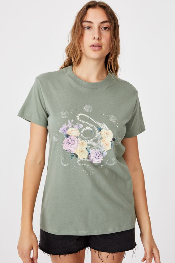 Classic Arts T Shirt, FLORAL SNAKE/FALL GREEN