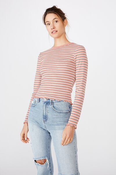 The Sister Long Sleeve Top, GRACE STRIPE/ CANYON CLAY