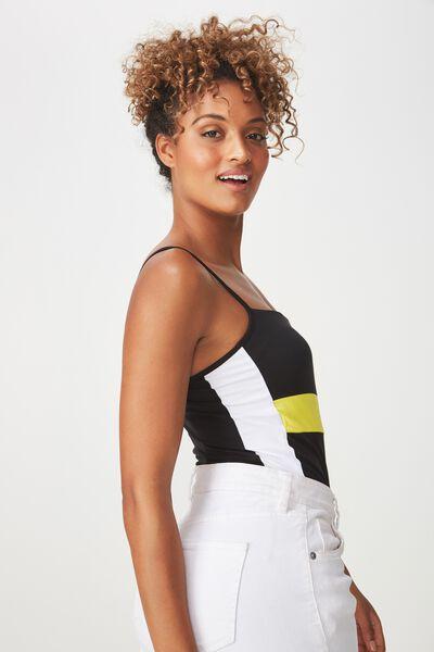Carissa Straight Back Bodysuit, SPLICE VIBRANT YELLOW