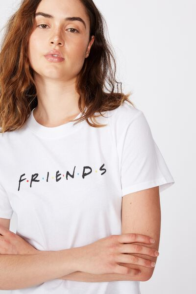 Classic Friends T Shirt, LCN WB FRIENDS LOGO WHITE