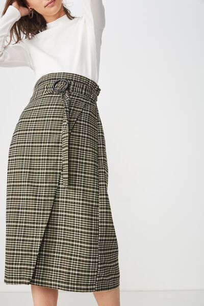Woven Melanie Wrap Midi Skirt, NYLA CHECK KHAKI