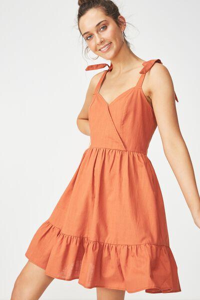 Woven Kaya Strappy Sun Dress, MAHOGANY