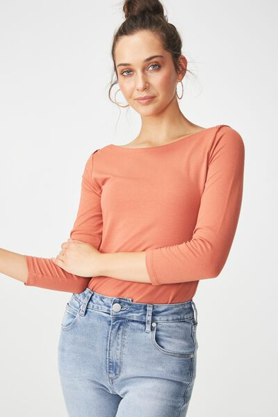 Everyday 3/4 Sleeve Boat Neck Top, REDWOOD