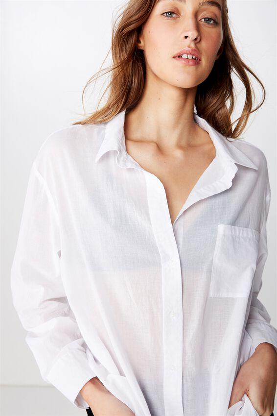 Savannah Oversize Resort Shirt, WHITE