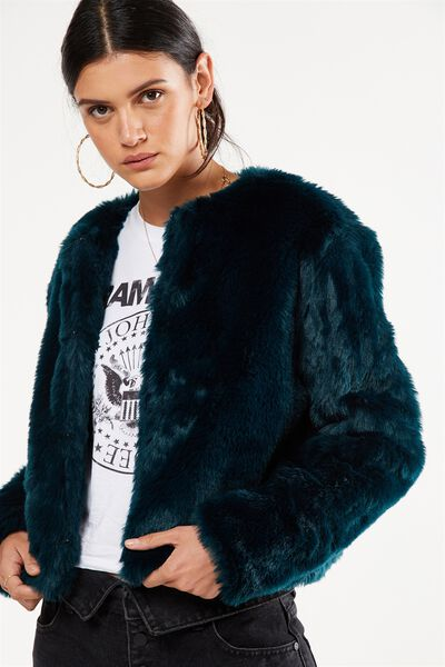 Faux Fur Jacket, VELVETY GREEN