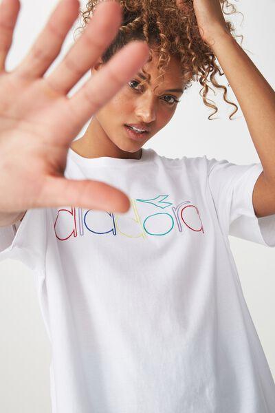 Diadora Logo Boyfriend Tee, WHITE