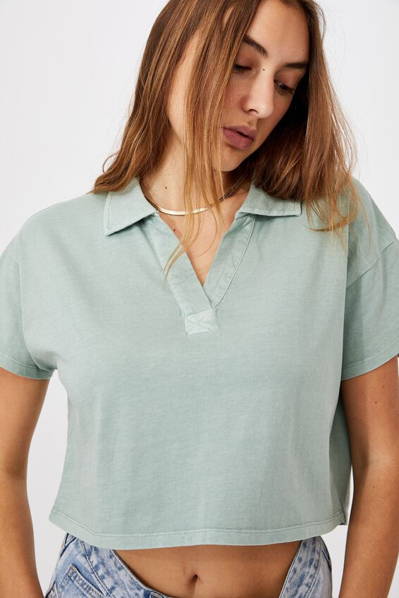 Ryan Short Sleeve Polo, WASHED LUSH GREEN