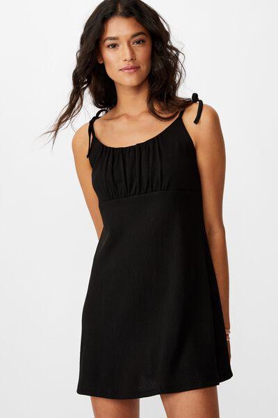 Alisa Gathered Strappy Mini Dress, BLACK