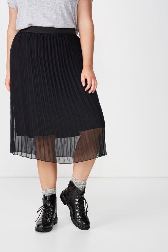 Curve Midi Pleated Skirt, BLACK