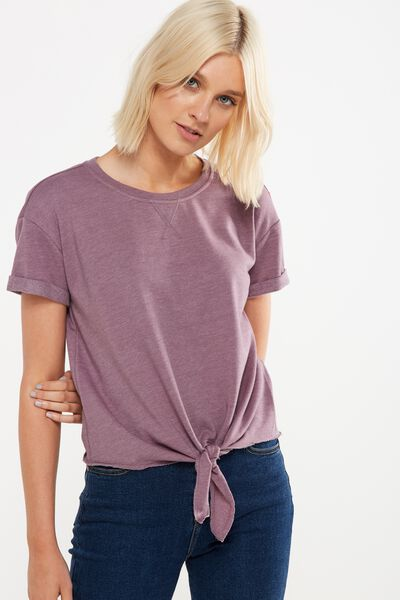 Coco Short Sleeve Fleece Top, DULL GRAPE MARLE