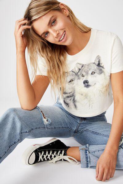Cara Graphic Crop T Shirt, WOLF PACK/GARDENIA