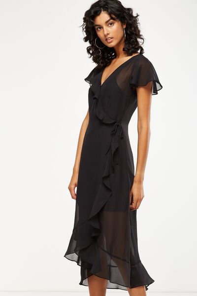 Woven Cami Cap Sleeve Ruffle Midi Dress, BLACK