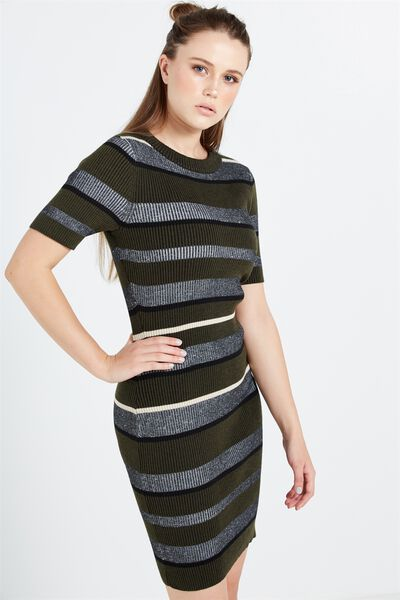 Avon Bodycon Mini Dress, BETSY STRIPE DEEP MOSS
