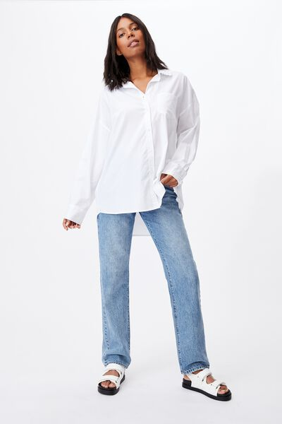 Lily Frill Collar Long Sleeve Shirt, WHITE