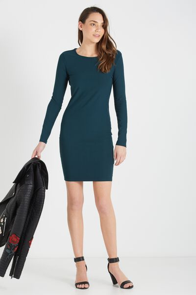 Karen Long Sleeve Midi Dress, VELVET GREEN