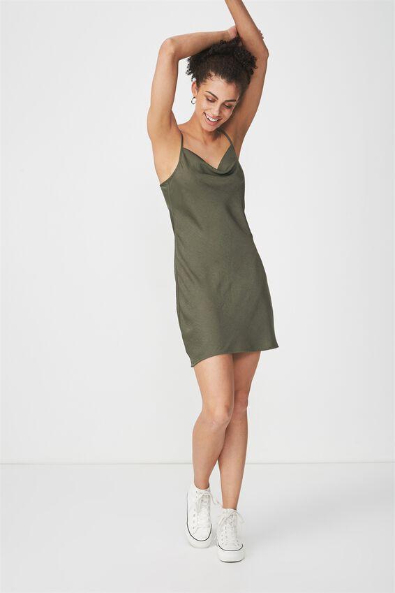 Woven Vera Cowl Neck Mini Dress, SOFT KHAKI