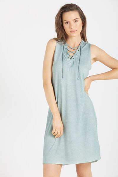 Urban Lace Up Sleeveless Midi Dress, EUCALYPTUS ACID WASH