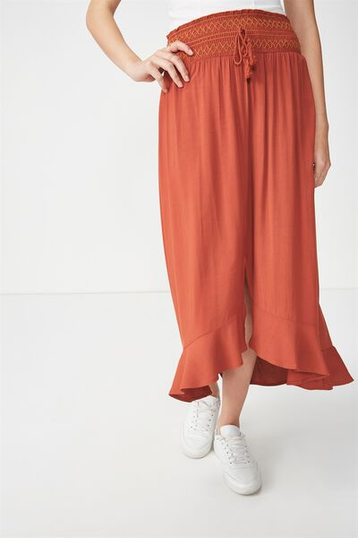 Woven Hayley High Low Midi Skirt, TERRACOTTA