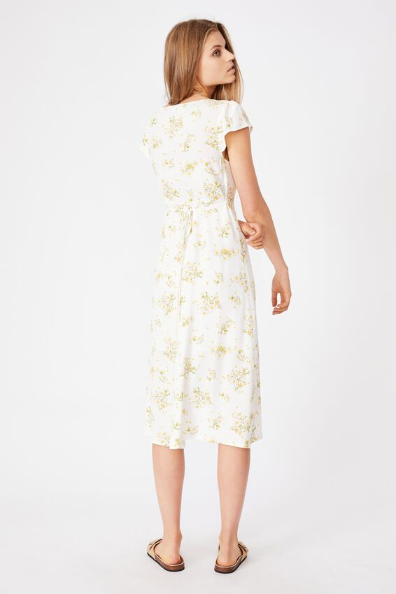 Woven Cleo Tie Back Midi Dress, GEORGIA DAISY WHITE