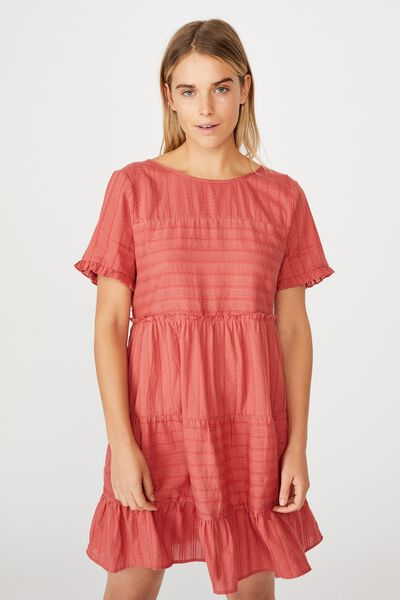 Woven Scarlet Tiered Mini Dress, FADED ROSE