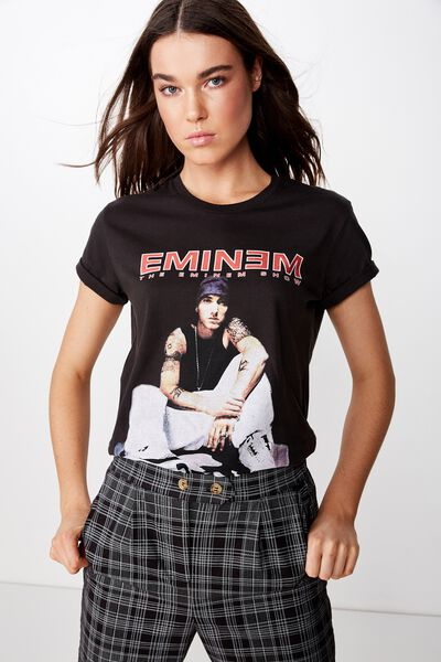 5af64fa1d15d Classic Hip Hop T Shirt, LCN BR EMINEM SHOW/WASHED BLACK. Cotton On Women