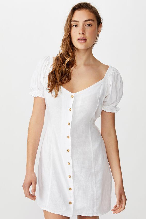 Woven Aurora Short Sleeve Mini Dress, WHITE