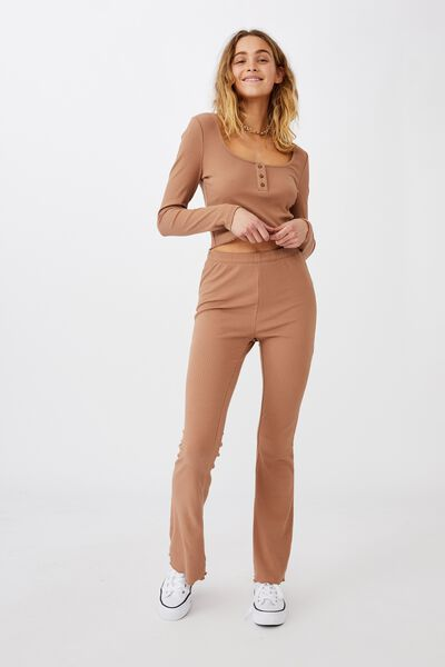 Bella Henley Long Sleeve Top, HERITAGE BROWN