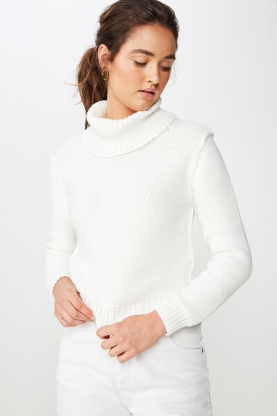 Liza Slouch Neck Cropped Pullover, CLOUD DANCER