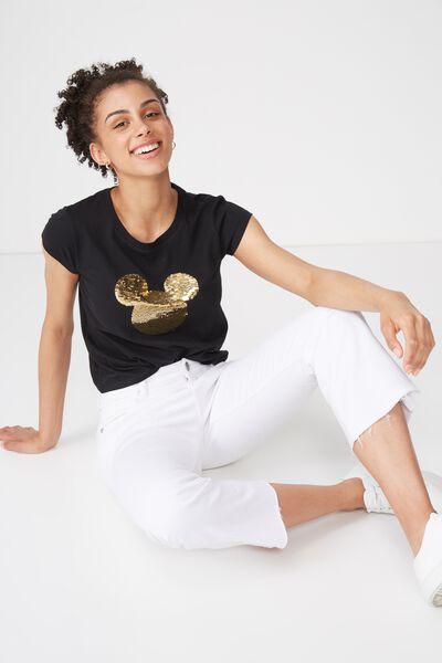 Tbar Rachael Graphic Tee Shirt, LCN MICKEY 2WAY SEQUIN/BLACK