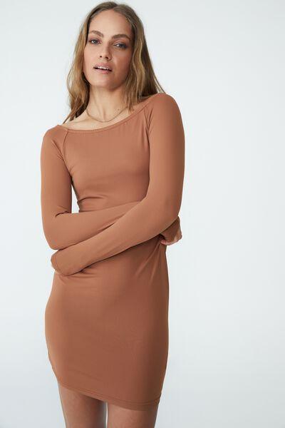 Macy Ls Bardot Neck Mini Dress, LEAF BROWN