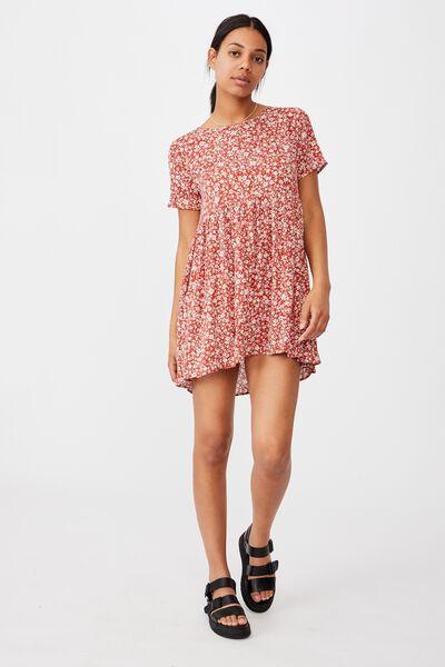 The Good Times Babydoll Mini Dress, NICOLE DITSY RED CLAY MINI