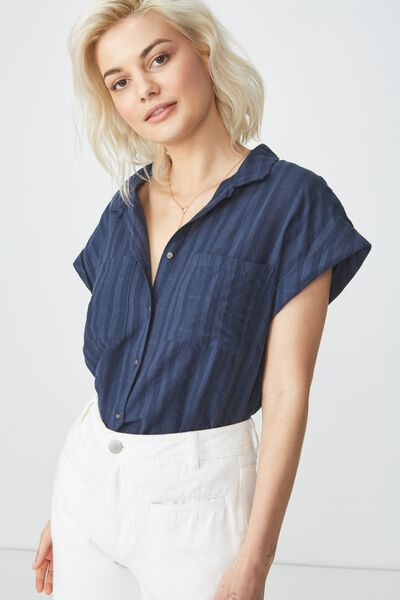 Emily Short Sleeve Shirt, NAVY TEXTURED STRIPE