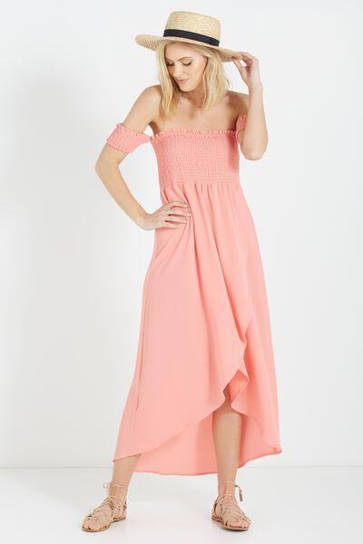 Woven Mazie Off The Shoulder Shirred Maxi Dress, PEACH SORBET